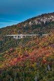 Verlaat Veranderende Kleur rond Linn Cove Viaduct stock foto