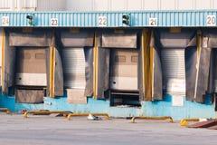 Verladedock-Ladetüren des Absatzzentrums leere stockfoto