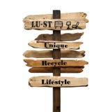 Verlangen, Uniek, het Kringloop, Levensstijl voorziet op witte achtergrond van wegwijzers Royalty-vrije Stock Foto
