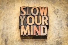 Verlangsamen Sie Ihren Sinnesrat stockfotos