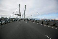 ?verlappade gator av Vladivostok Folket promenerar de centrala gatorna av Vladivostok och den guld- bron arkivfoto
