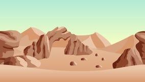 Verlassen Sie Landschaftshintergrund mit Sanddünen und alten ruines Stockbild
