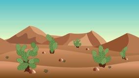 Verlassen Sie Landschaftshintergrund mit Sanddünen und Kaktusbüschen Stockfotografie