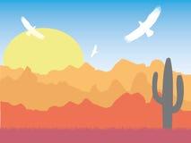 Verlassen Sie mit Schattenbild von Adlern und von Kaktus am sonnigen Tag Retro- lizenzfreie abbildung