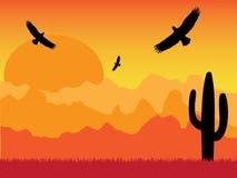 Verlassen Sie mit Schattenbild von Adlern und von Kaktus am sonnigen Tag Retro- stock abbildung