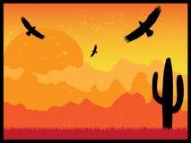 Verlassen Sie mit Schattenbild von Adlern und von Kaktus am sonnigen Tag Retro- Stockbilder