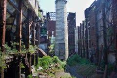 Verlassen, zerstört durch Krieg und überwucherte Maschinerie des Tkvarcheli-Kraftwerks Stockfotografie