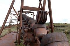 Verlassene Goldmine am See Lago Blanco Stockbilder