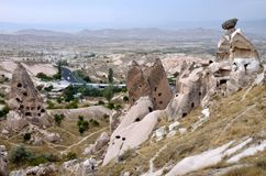 Verlassene Höhlenstadt in Uchisar, Cappadocia, die Türkei, Anatolien Stockfotos