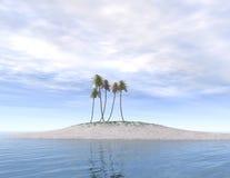 Verlassene Insel mit Palmen Lizenzfreies Stockbild