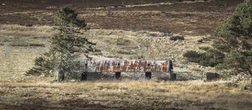 Verlassene Kate von Ostern Crannich auf Dava Moor in Schottland stockbilder