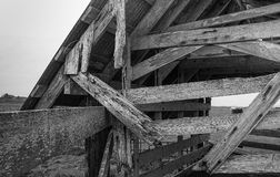 Verlassene Scheune, Schwarzweiss-Bild Stockbild