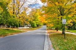 Verlassene Straße im Herbst Lizenzfreie Stockfotos