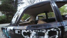 Verlassene und gebrochene Autos stock video