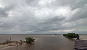 Verlassene verschlechternde Boots-Dock Chachmuchuk-Lagune in Isla Blanca Cancun Mexiko Stockfoto