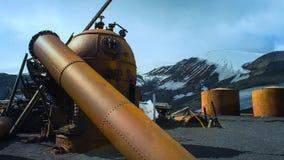 Verlassene Walfangstation in der Antarktis lizenzfreies stockbild