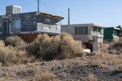 Verlassene Wohnwagensiedlung Stockfotos