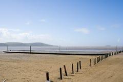 Verlassener englischer Strand stockbilder