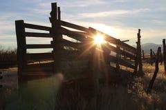 Verlassener ladender Shute für Viehbestand lizenzfreie stockfotografie