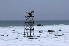 Verlassener Marineturm auf einem Schnee in der Küste Stockfotografie