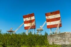 Verlassener russischer Militärstützpunkt Militärradare, Verzeichnisse lizenzfreie stockbilder