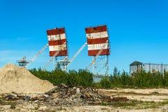 Verlassener russischer Militärstützpunkt Militärradare, Verzeichnisse stockfoto