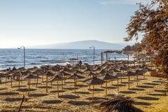 Verlassener Strand Balchik bulgarien Stockfotografie