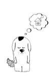 Verlassener Welpe, nehmen, Tiergrausamkeit, Hand gezeichnete Illustration an Trauriger obdachloser Welpe, der nach einem Haus, Ve Lizenzfreie Stockbilder