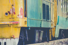 Verlassener Zug-Blockwagen Stockfotos