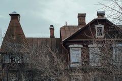 Verlassenes altes Haus fragment Nahaufnahme lizenzfreie stockfotografie