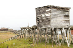 Verlassenes Fisch-Bretterbude, Neufundland stockbild