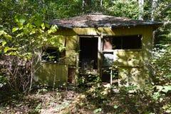 Verlassenes grünes Haus im Wald lizenzfreie stockbilder