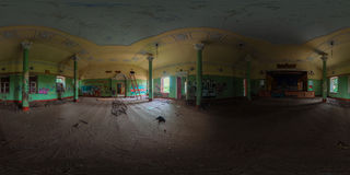 Verlassenes Hallenpanorama Stockbild
