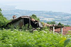 Verlassenes Haus im Wald im Sommer Lizenzfreie Stockbilder
