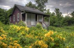Verlassenes Haus mit überwuchertem Yard Lizenzfreies Stockbild