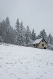 Verlassenes Haus mitten in dem Schneesturm Stockfoto