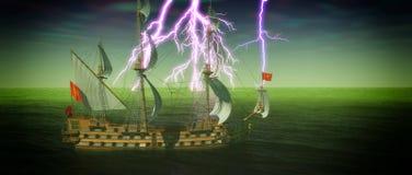 Verlassenes historisches Segelschiff im stürmischen Meer mit einer Wiedergabe des Blitzschlages 3d Stockfoto