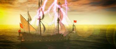 Verlassenes historisches Segelschiff im stürmischen Meer mit einer Wiedergabe des Blitzschlages 3d Lizenzfreies Stockfoto