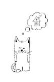 Verlassenes Kätzchen, nehmen, Tiergrausamkeit, Hand gezeichnete Illustration an Trauriges obdachloses Kätzchen, das nach einem Ha Lizenzfreie Stockfotografie