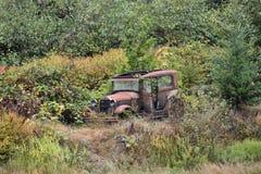 Verlassenes Weinlese-Auto überwältigt mit Unkräutern stockfotografie
