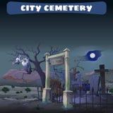 Verlaten begraafplaats in de woestijn en de wacht Gryphon Stock Afbeeldingen