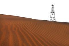 Verlaten booreiland en zandduinen in de woestijn stock foto