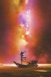 Verlaten boot tegen stary hemel met Melkweg stock illustratie