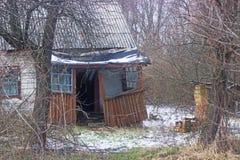 Verlaten de lentehuis dichtbij Tchernobyl Royalty-vrije Stock Afbeelding