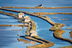 Verlaten deel van zoutmeer Secovlje - Slovenië Stock Afbeeldingen