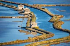 Verlaten deel van zoutmeer Secovlje - Slovenië stock foto's