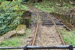 Verlaten die spoorbrug door een eigengemaakte `-spooktrein ` die looppas op verlaten spoorwegsporen wordt gebruikt Stock Afbeeldingen