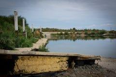 Verlaten dokken bij Salton-Overzees royalty-vrije stock foto