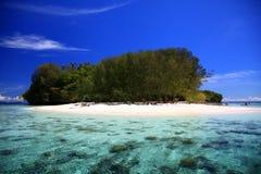 Verlaten eiland in de Vreedzame Oceaan Royalty-vrije Stock Foto's