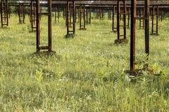 Verlaten, gebroken industriële serre voor het kweken van groenten stock foto's